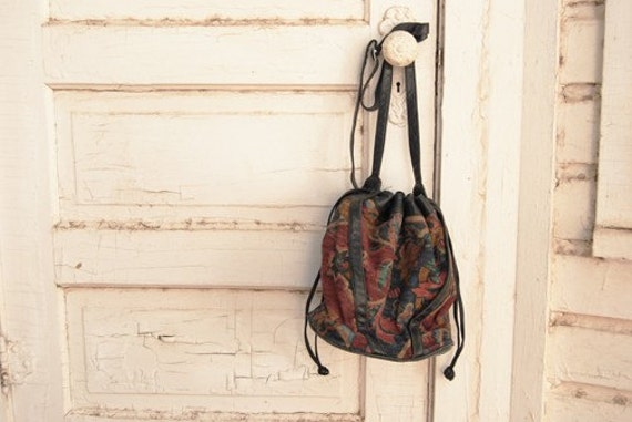 Reserved vintage 80s Floral Tapestry and Black Leather Bucket Purse