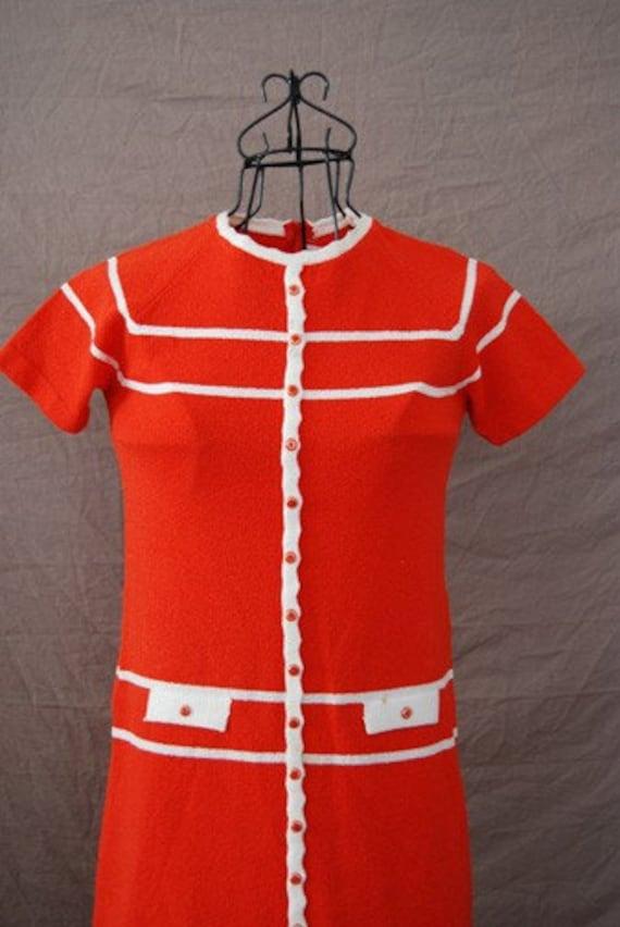 vintage 60s Mod Orange Stripe Body Con Mini Scooter Dress Sz S M