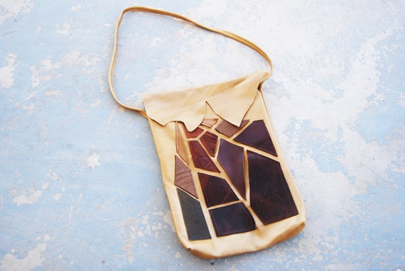 Leather Purse - Brown Shattered Applique Bag - Modern Pocahontas Collection