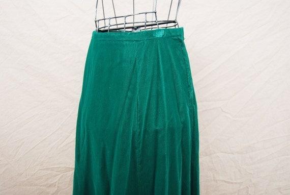 SALE vintage 40s Maxi Skirt - Emerald Green Velvet Formal Skirt Sz S