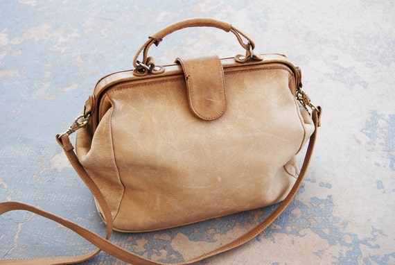vintage 80s Purse - Nude Leather Doctors Bag