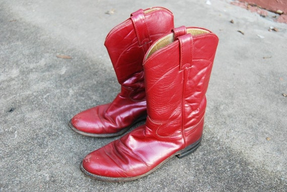 vintage Cowboy Boots - 80s Burgundy Leather Justin Western Cowgirl Boots Sz 7.5