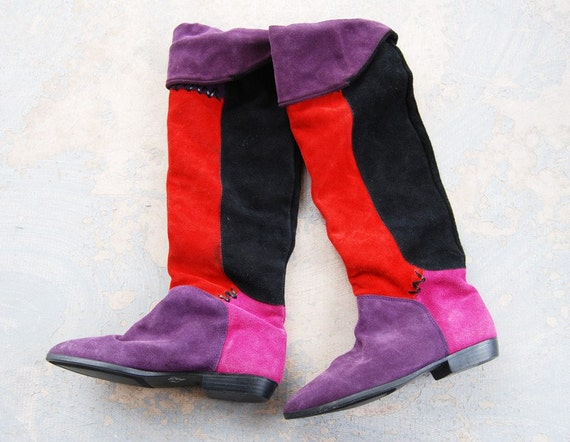 CLEARANCE vintage 1980s OTK Thigh High boots - 80s Colorblock Suede Pirate Cuffed Boots  Sz 7.5 38