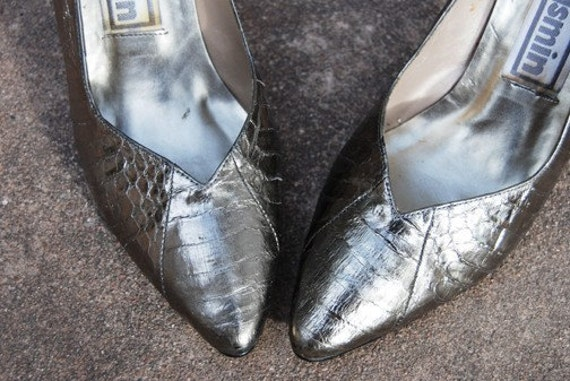 CLEARANCE SALE vintage 1980s Silver Shoes - 80s Snakeskin Heels Metallic Pewter Leather Sz 6.5