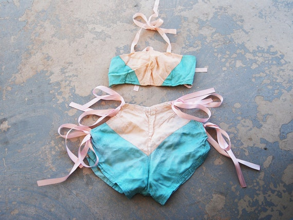 RESERVED vintage 20s Burlesque Dance Costume - 1920s Pink and Teal Silk Bikini Lingerie Outfit Sz S