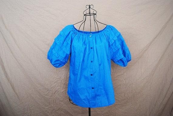 vintage Peasant Blouse - 70s Blouse - Blue Puff Sleeve Off Shoulder Shirt Sz M L
