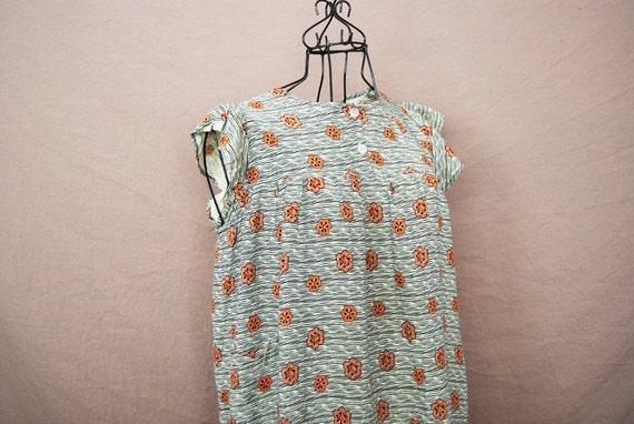 vintage Ethnic Dress - 70s Dress - Batik Black and Brown Floral Tent Dress Sz M L