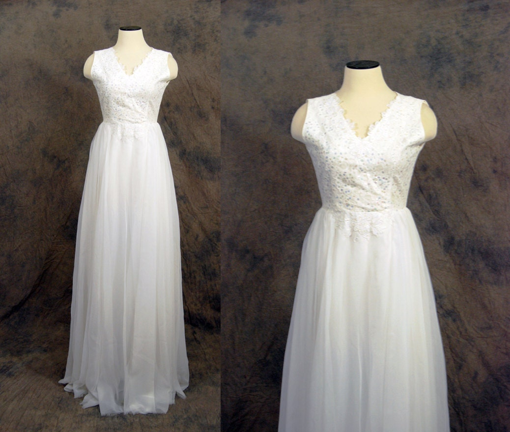 60 Wedding Dresses For Bride: Vintage 60s Wedding Dress White Lace Chiffon By Jessamity