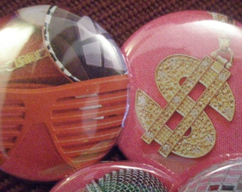 Rock Star pin back button set