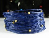 Wikkitz Bracelet in Midnight Blue with Gold Beads
