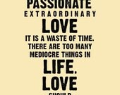 MAD PASSIONATE LOVE (in Vintage Cream and Black) --- A4 Fine Art Modern Print