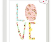 LOVE - Pretty Vintage Style Letters 8x10 inch Print on A4 poster (in Pink, Blue, Yellow, Green)