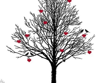 The Love Tree - 8x10 inch on A4 - Print (in Jet Black and Red)