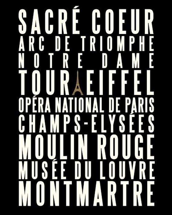 PARIS CITY OF LOVE / 16x20 ARCHIVAL POSTER ART PRINT (in French Cream and Black)
