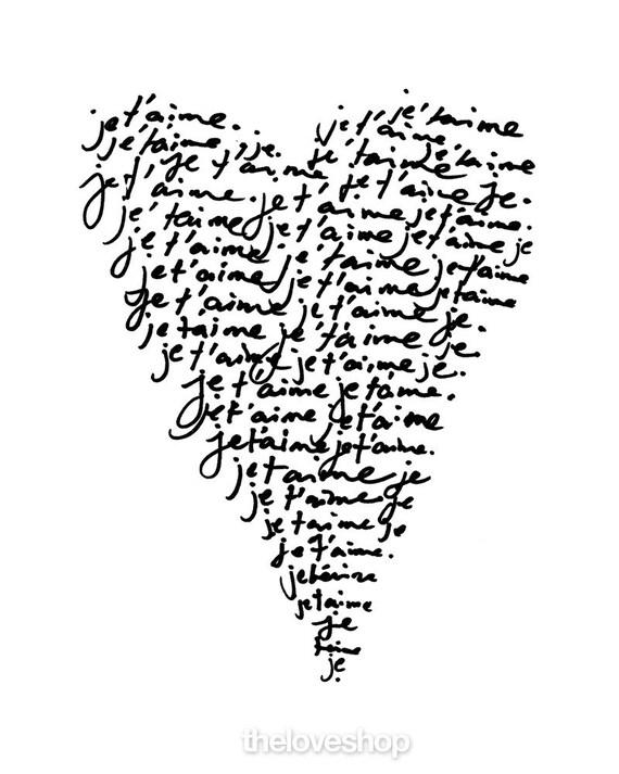 JE TAIME \/\/ I LOVE YOU \/\/ 11x14 French Print