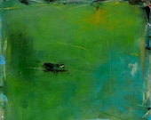 Clearance SALE Green Grass of Home - 24x24 Original Contemporary Abstract  Landscape Painting Original