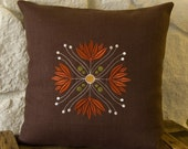ON SALE - Embroidered Lotus Flower 16x16 chocolate brown linen pillow cover arts and crafts style
