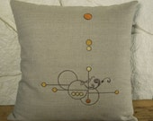 ON SALE - Embroidered Gold to Orange  16x16  oatmeal linen pillow cover arts and crafts style