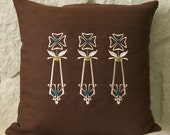 "Embroidered ""Maude"" 16x16 chocolate brown linen pillow cover arts and crafts style"