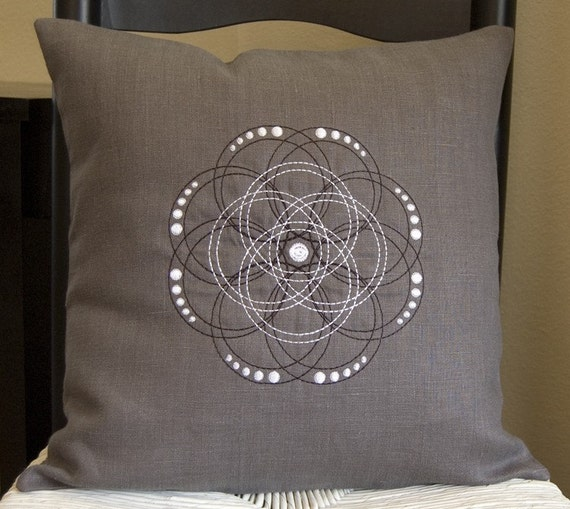 ON SALE - Embroidered Swirl Flower 16x16 elephant gray linen pillow cover