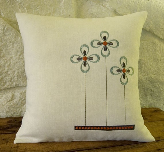 ON SALE - Embroidered Prairie Flower 16x16 Ivory linen pillow cover arts and crafts style
