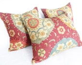 Rustic Suzani Pillows, 16x16, Sienna Rust Sage, Large Medallions, Turquoise, Organic, Fall Pillows, Couch Cushion Covers, SALE