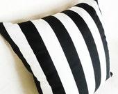 Set of Two, Pair,  Black and White Striped Floor Cushions, Oversized, Decorative Throw Pillows, Modern, Stripes, Euro Pillow Shams,  26x26