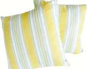 Country Pillows, Yellow Blue Cream Pillow Covers, Striped Decorative Pillows, Country Cushion Covers, Cottage Chic, 12x18, 16, 18, 20, 26