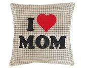 Love Mom Word Pillow, Text Letters, Mother, Love, Unusual Gift, Neutral Taupe, Mom Birthday Pillow, Accent Sofa Pillow, 18x18