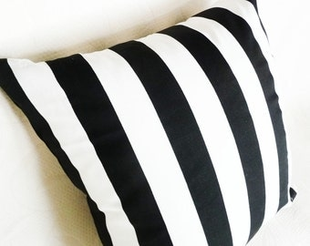 Black and White Striped Pillow Shams, Oversized Cushion Covers, Decorative Bedding Pillow, 20x26, 20x28
