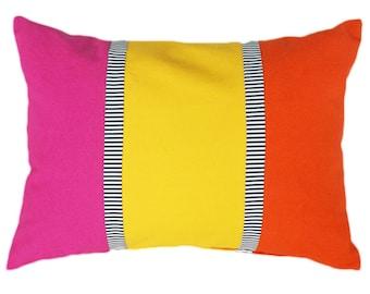 Bright Color Block Pillows, Whimsical Decorative Pillows, Pink Yellow Orange Pillows, Black White Stripes, Nursery Decor, 14x20, PILLOW SALE