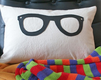 Geek Pillow, Unique Cushion Cover with Black Glasses, Back to School Dorm Decor, Teen Pillows, 12x18 Lumbar Pillow