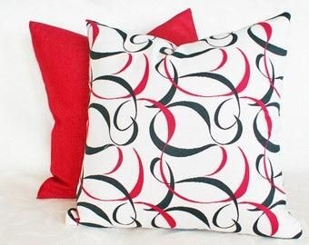 Cream Red Black Pillows, Contemporary Cushion Cover,  Modern Throw Pillows, Sofa Pillow, Abstract Scrolls, 12x18 Lumbar, 16x16, 18x18