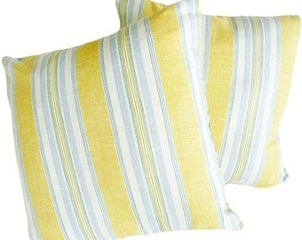 Yellow Blue Pillow Covers, Yellow Striped Cushions, Country Pillow Covers, Cottage Chic Pillows, 12x18, 16, 18, 20, 26, SPRING Sale