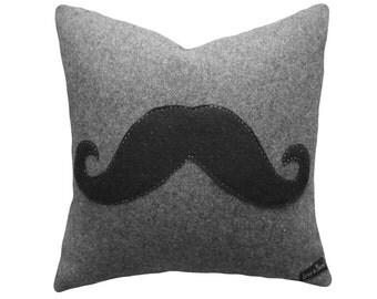 Appliqued Moustache Pillow, Unique Man Cave Pillows, Black Mustache, Kids, Teens Cushion Cover, Guy Christmas Gift, 18x18, 45x45 cm