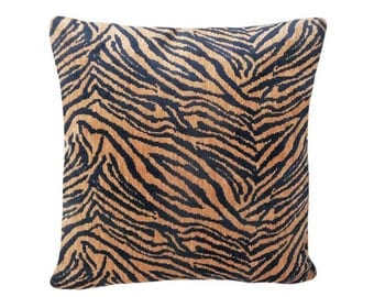Textured Tiger Print Pillow, Luxury Tiger Pillow, Exotic Cushion Cover,  Black Brown Tan, Safari Style, 18x18, Year End SALE