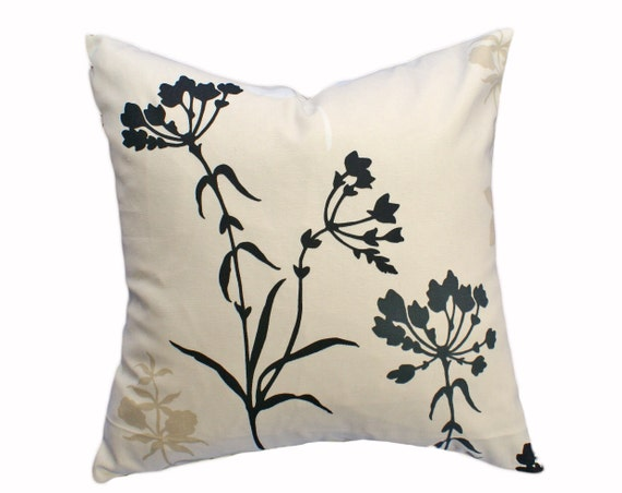 Wild Flowers Throw Pillow, Black Tan Cream Decorative Pillow Covers, Floral Black Silhouette, Sofa Couch Accent Cushions, 18x18