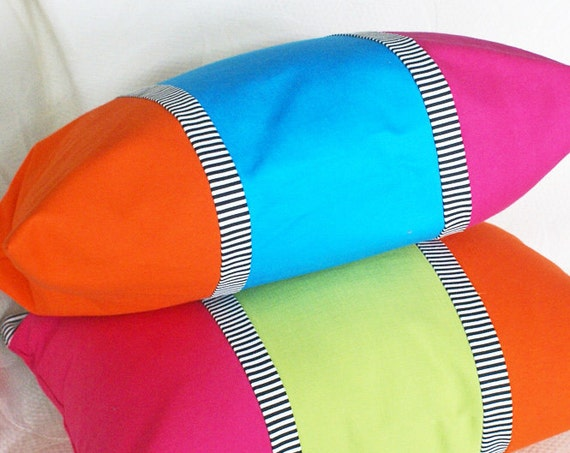 Rainbow Colored Throw Pillows, Bold Bright, Color Banded, Color Blocked, Orange Blue Pink, Decorative Accent, Kids Decor 14x20