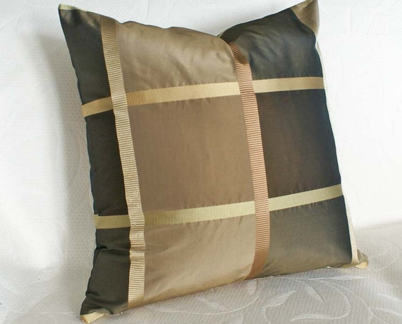 Luxury Silk Throw Pillows : Contemporary Brown Pillows Luxury Silk Decorative Pillow
