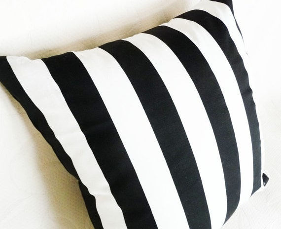 Set of Two, Pair,  Black and White Striped Floor Cushions, Oversized, Decorative Throw Pillows, Modern, Stripes, Euro Pillow Shams,  26x26