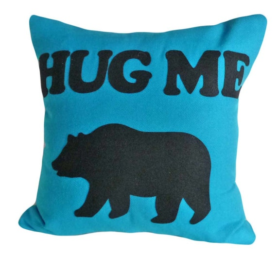 Bear Pillow, Text, Word Pillows, Hug Me, Appliqued Letters, Turquoise Blue and Black, Unique Cushion Cover Christmas Gift 18x18