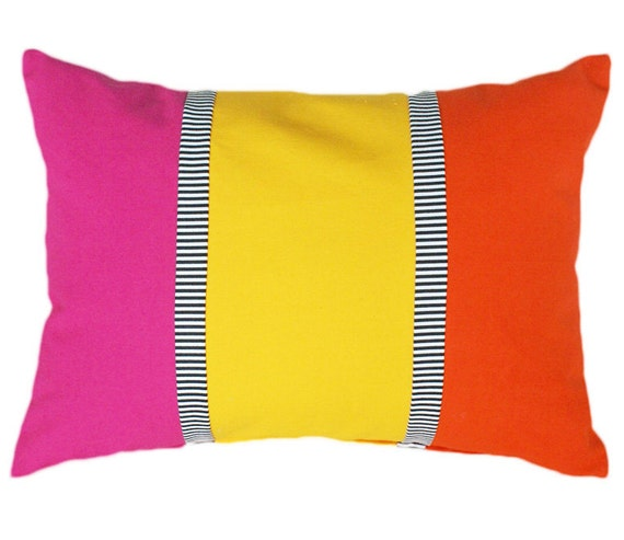 Bright Yellow Decorative Pillows : Bright Decorative Pillows Pink Yellow Orange by PillowThrowDecor