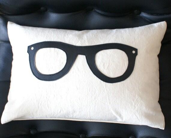 College Geek Pillows, Black Glasses Pillow, Students Dorm Decor, Man Cave Pillow, 12x18, Geekery, Geek Guy Gift