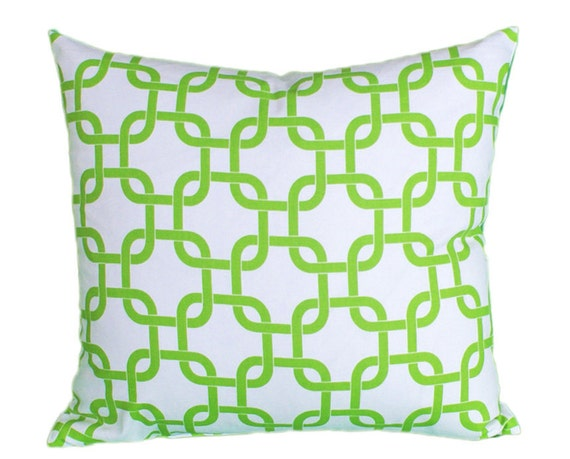 Green Geometric Throw Pillow : Lime Green and White Geometric Throw Pillows: by PillowThrowDecor