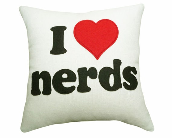 Nerd  Pillow, I Love Nerds, Text, Word Pillows, Nerdy Toss Cushions, Valentines Day Gift, Dorm Decor, Red Heart on Cream 16x16