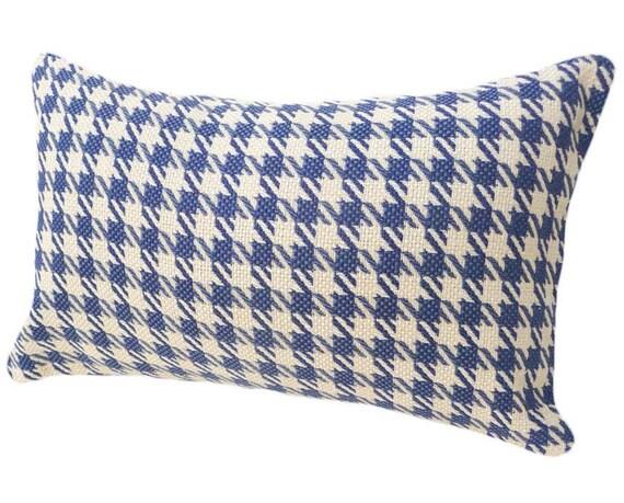 Blue Cream Houndstooth Pillow Plaid Accent Pillow Decorative