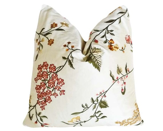 Embroidered Floral Pillow, 14x18 Lumbar, Cream Pink Red Lemon, Silk Cushion Cover, Unique, Luxury, Romantic Accent Pillow, SALE
