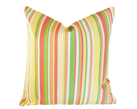 Citrus Striped Patio Pillow Bright Stripes Orange Yellow
