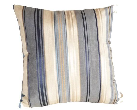 Blue Striped Decorative Throw Pillows, Modern Designer Cushion Covers, Blue Cream Gold, 16x16 Couch Sofa Accent