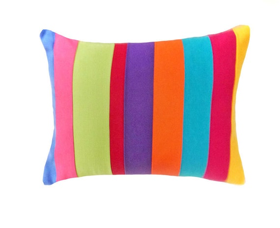 Neon Colorful Throw Pillows, BOHO CHIC Color Banded Striped Accent Pillows, Custom Cushion Covers, Teenagers Dorm  Decor 16x12